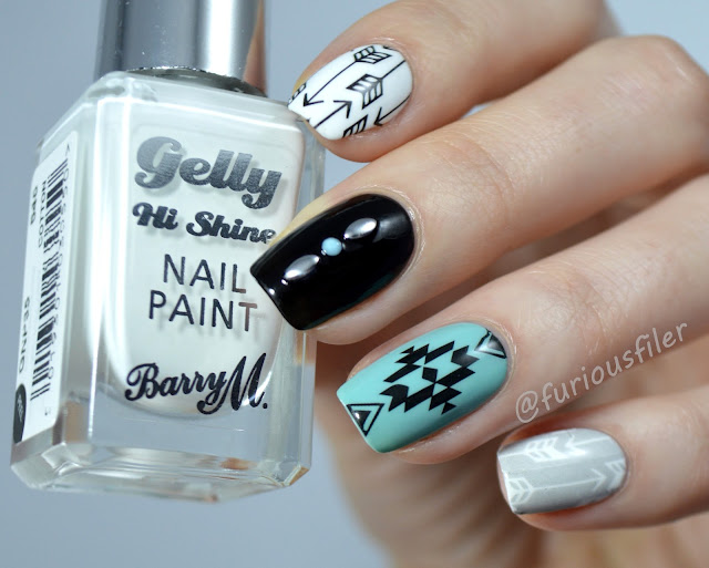 studs water decals monochrome tribal aztec nails arrows
