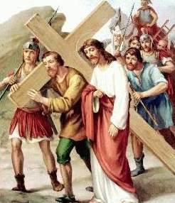 Dibujo de Jesús acompañado de Simón