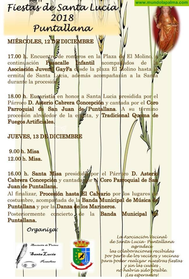 Festividad de Santa Lucía este 12 y 13 de diciembre en Puntallana