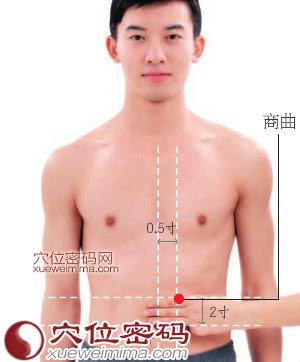 商曲穴位 | 商曲穴痛位置 - 穴道按摩經絡圖解 | Source:xueweitu.iiyun.com