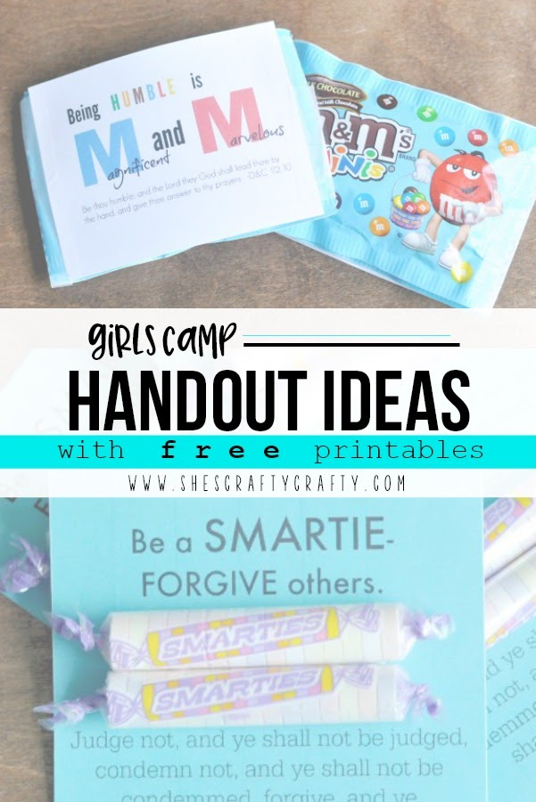 Girls Camp Handout Ideas with free printables