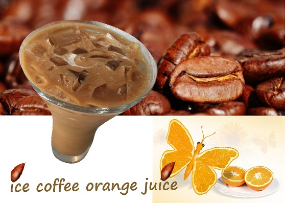 iced coffee, orange juice, fresh drink, vegan, gluten free