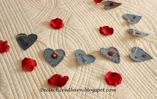 Eclectic Red Barn: Jean shirt turned into jean Valentine heart garland