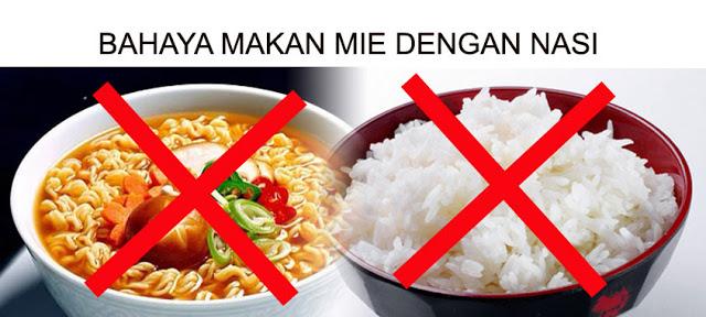 Bahaya Makan Mie Dicampur Dengan Nasi