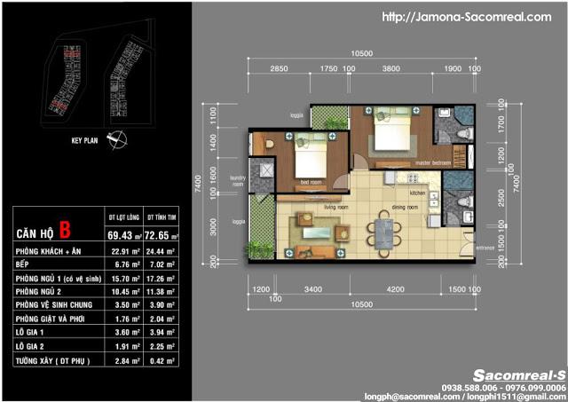 Thiết kế căn hộ liền kề góc 2 phòng ngủ 69m2 Jamona Apartment