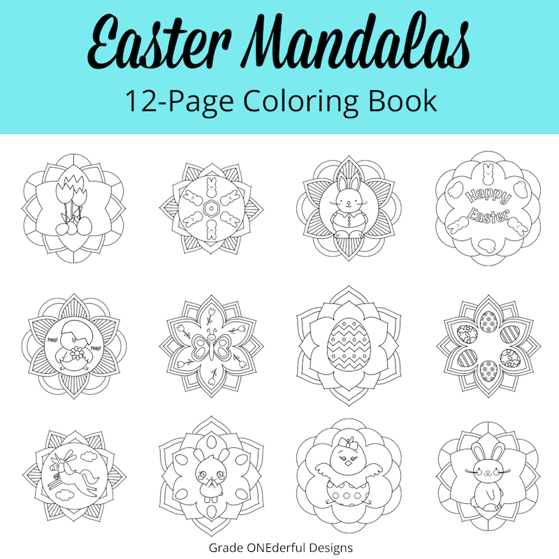 A round-up of Easter goodies and a peek at my new Easter clipart (some cute and colorful peeps plus an Easter mandala coloring book). #Easter #easterclipart #eastercoloring #eastermandalas #mandalacoloring