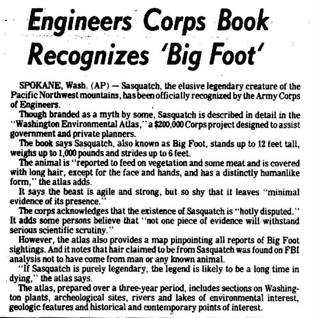 Army Corps Of Engineers Recognizes Sasquatch