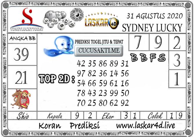 Prediksi Sydney Lucky Today LASKAR4D 31 AGUSTUS 2020