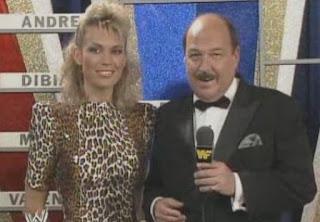 WWF / WWE WRESTLEMANIA 4: Mean Gene Okerlund w/ Wheel of Fortune star Vanna White