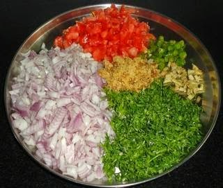 chop the onion,tomato, ginger, green chilly, cilantroto make uttapa