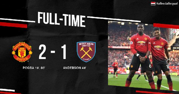 Manchester United vs West Ham 2-1 Highlights