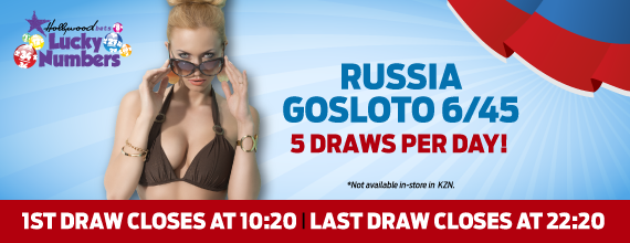 Russia Gosloto 6/45 - Play with Lucky Numbers at Hollywoodbets - 5 Draws Daily