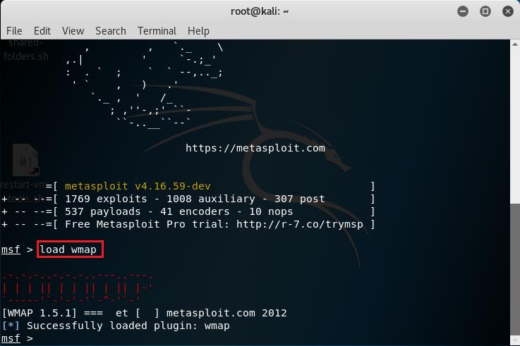 Caricamento del plugin WMAP nella console Metasploit Framework