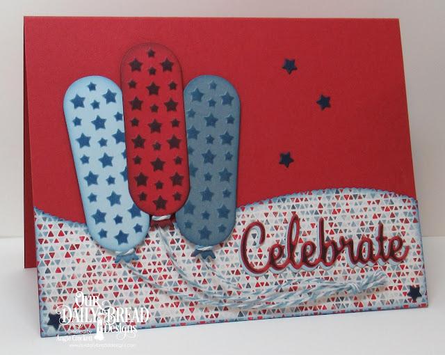 ODBD Custom Birthday Balloons Dies, ODBD Custom Celebrate and Wish Dies, ODBD Custom Sparkling Stars Dies, ODBD Custom Leafy Edged Borders Dies, ODBD Americana Quilt Paper Collection, Card Designer Angie Crockett