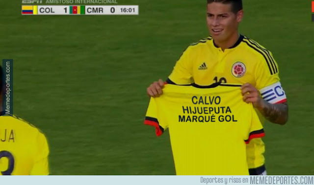 La dedicatoria de James en su gol con Colombia