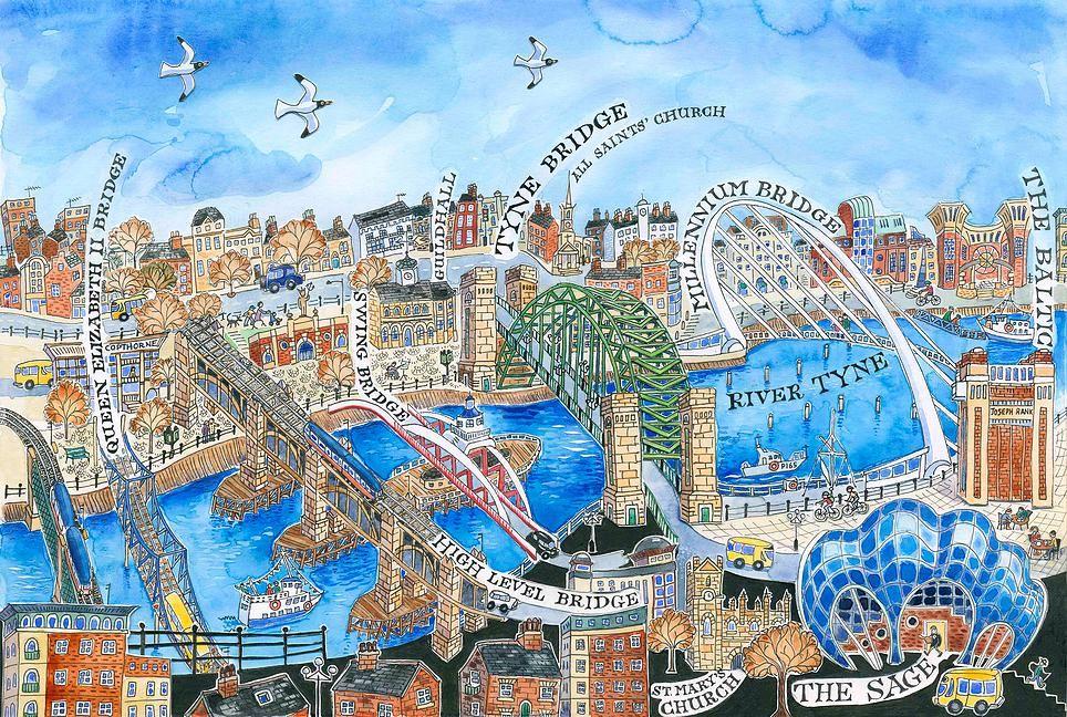 картина 7 мостов Ньюкасла