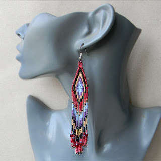 long boho earrings beadwork beaED JEWELRY DANGLE FRINGE EARRINGS