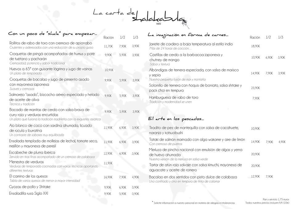carta restaurante shalakabula