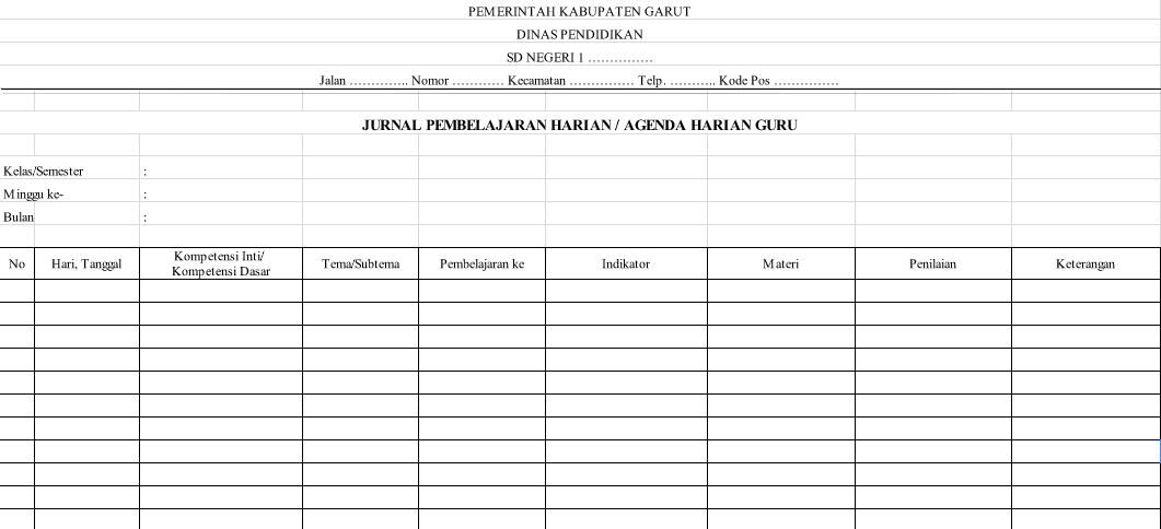 Contoh Format Agenda Harian Guru Sd Kurikulum 2013