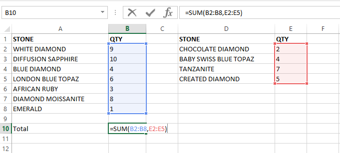 Range input for Sum function for non-contiguous range