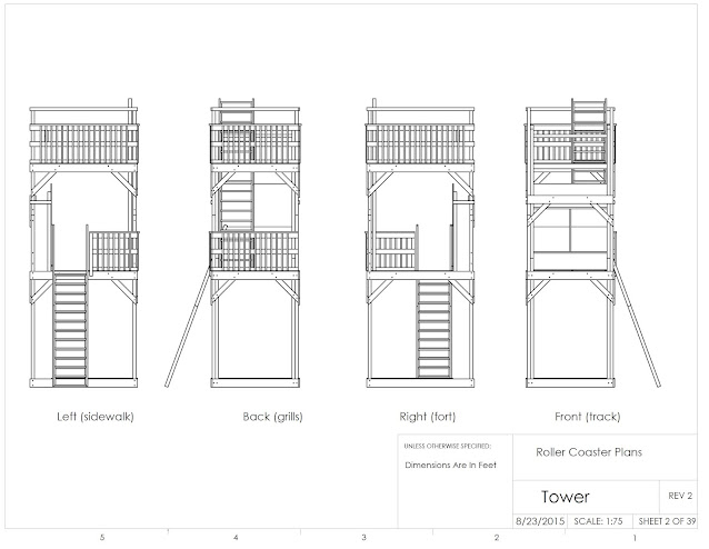 non-dimensioned engineering drawings of main two storey tower