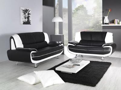 แบบห้องรับแขกสีขาว ดำโซฟาหนัง