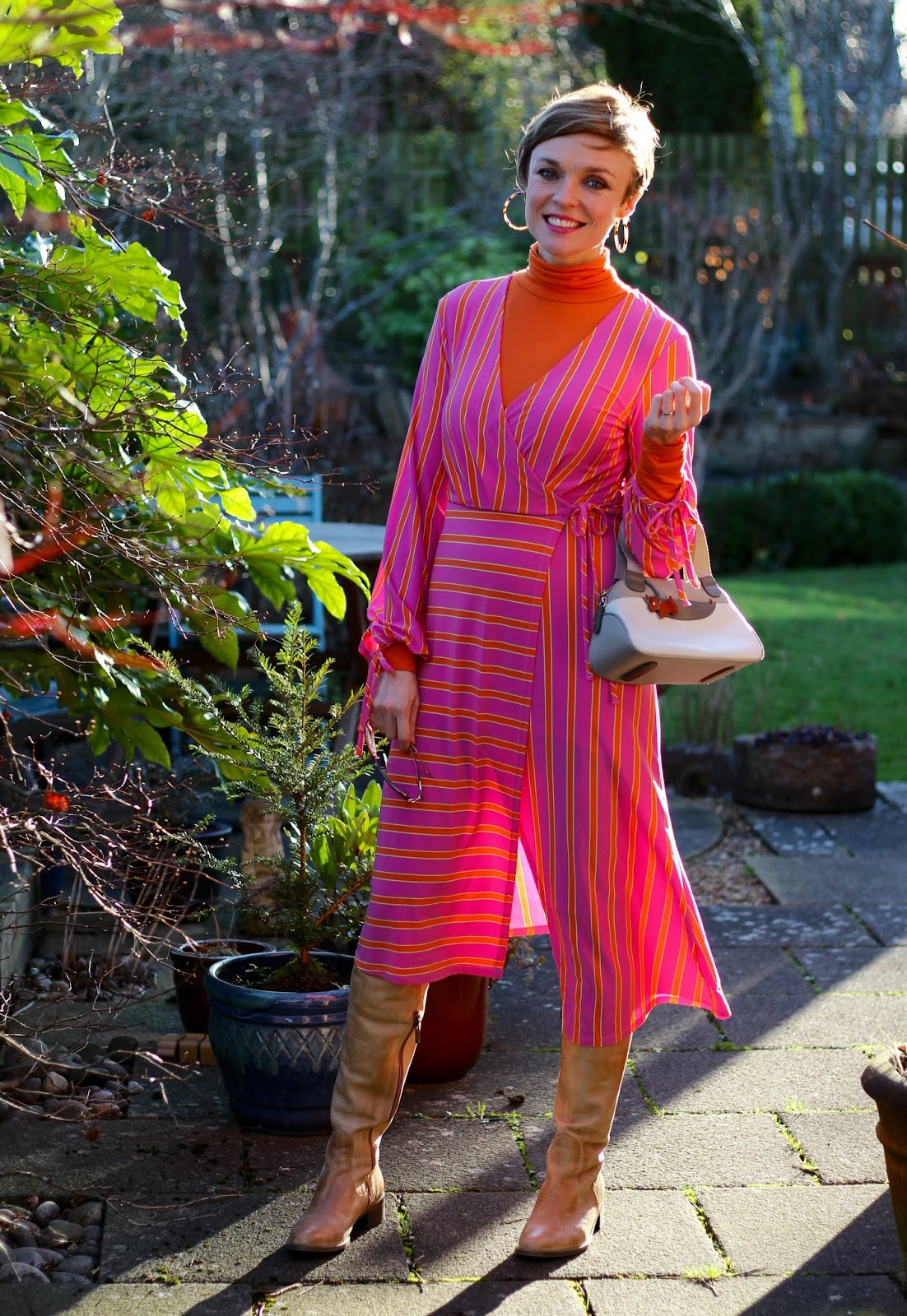 Neon Pink and Orange striped Topshop dress | Fake Fabulous | Winter Outfit