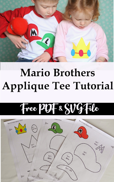 How to apply a Mario Brothers applique to a tshirt- Free Pattern