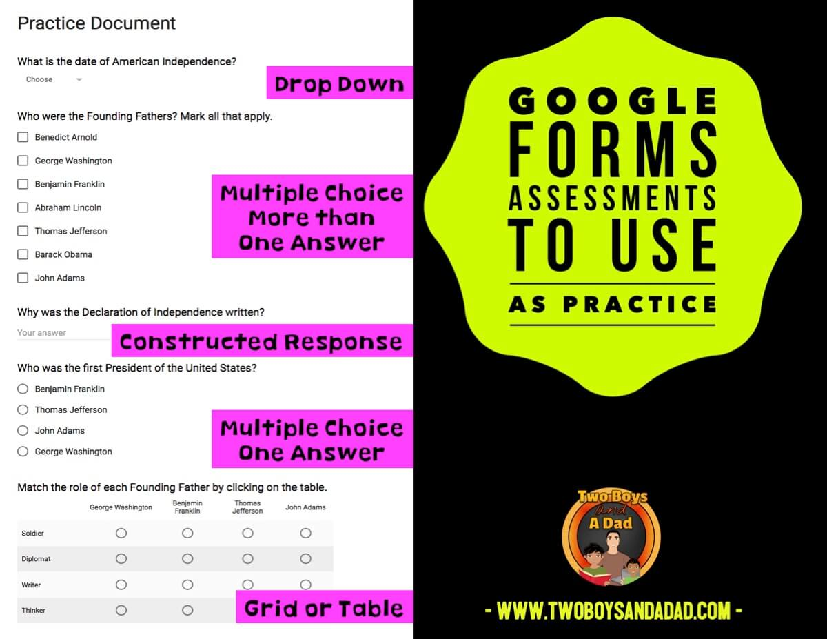 Use Google Forms as a way to prepare students for different types of state testing questions
