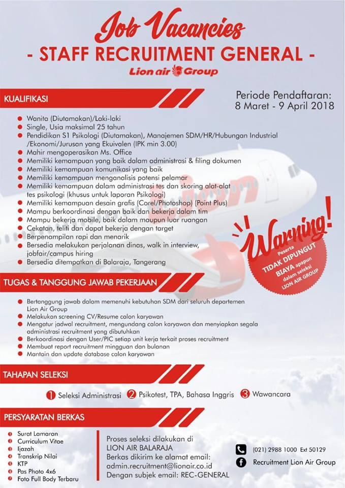 Pendaftaran Penerimaan Karyawan HRD Lion Air Group  Periode 8 Maret - 9 April 2018