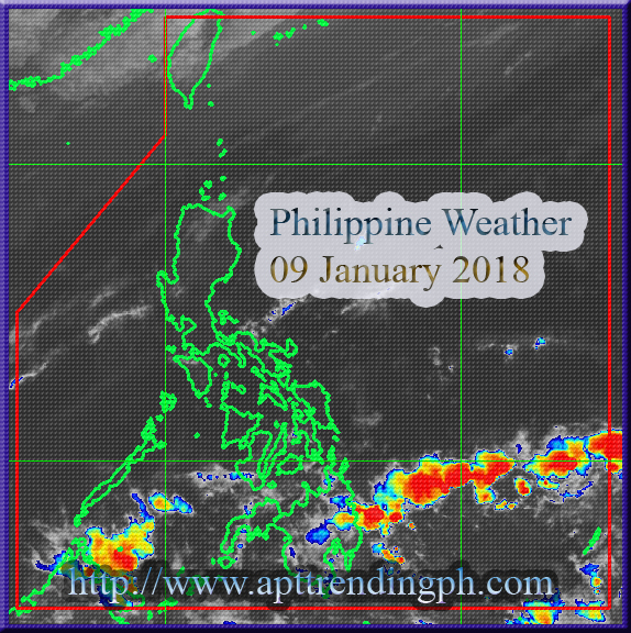 Easterlies and Northeast Moons are the weather system that will affects the country for today, 09 January 2019