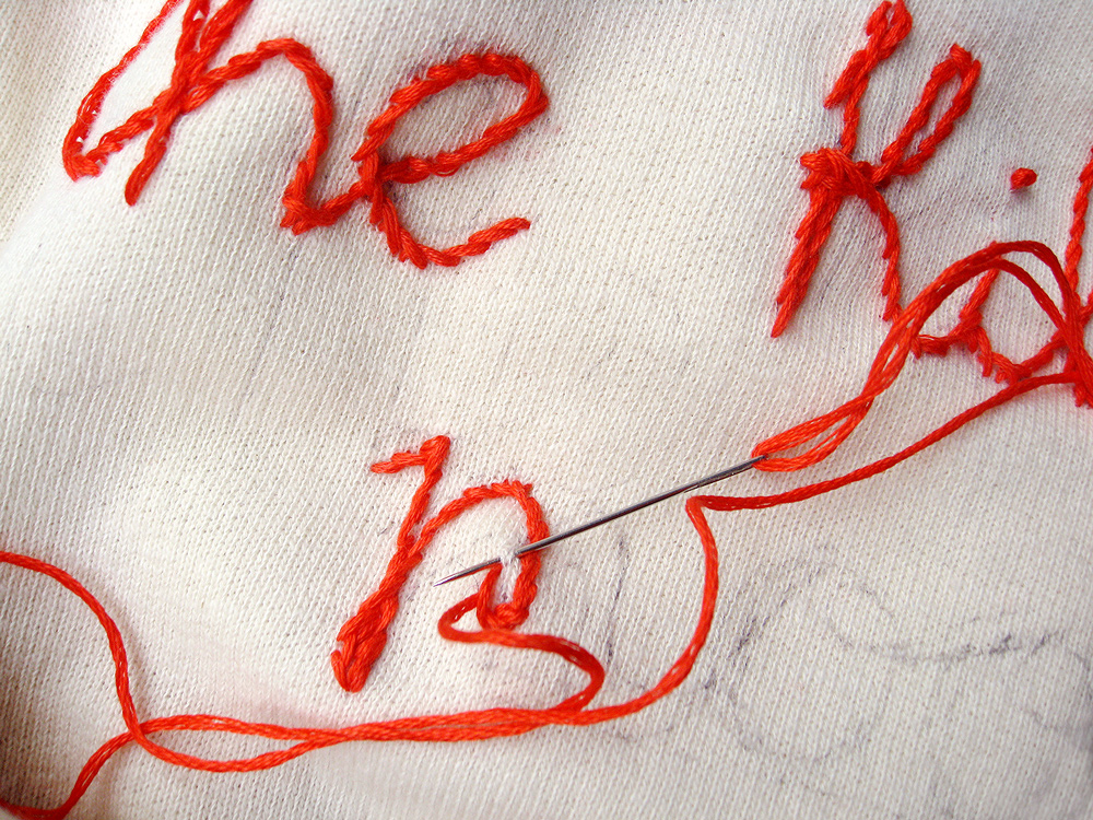 Misako mimoko cloth tattooing · embroidered lettering