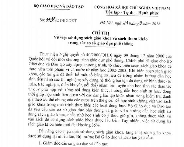 Văn bản chỉ thị của Bộ trưởng Phùng Xuân Nhạ