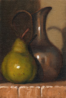 Oil painting of a green pear beside a pewter jug.