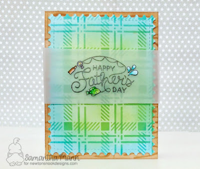 Happy Father's Day Card by Samantha Mann, Newton's Nook Designs, fussy cut, plaid, distress ink,  handmade cards, #cards #fathersday #newtonsnook #distressink