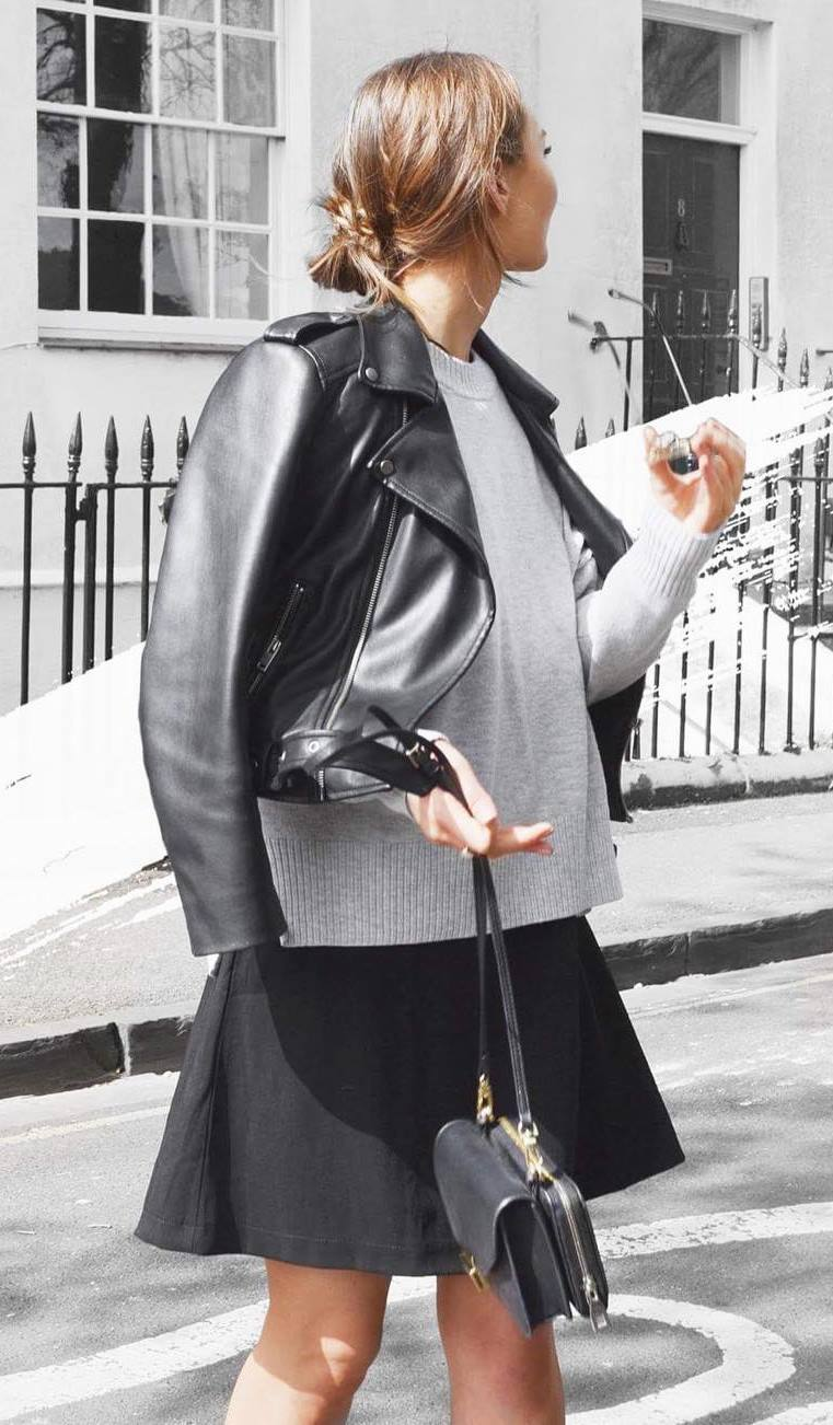 pretty cool outfit / biker jacket + grey sweater + skirt