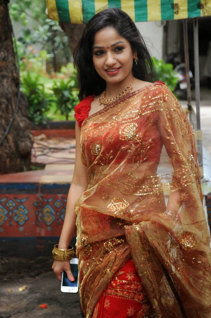 Madhavi Latha Hip Navel Photos In Red Saree Hot