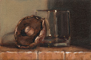 Oil painting of a brown mushroom resting against an Old Fashioned glass.