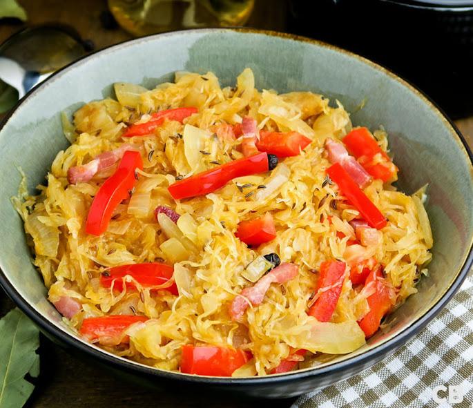 Recept Hongaarse zuurkool met rode paprika en kummelzaadjes