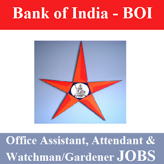 Bank of India, BOI, Maharashtra, Office Assistant, Attendant, Watchman, Gardener, 10th, freejobalert, Sarkari Naukri, Latest Jobs, Bank, boi logo