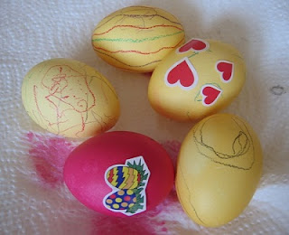 Eggs Decorated with Stickers and Markers