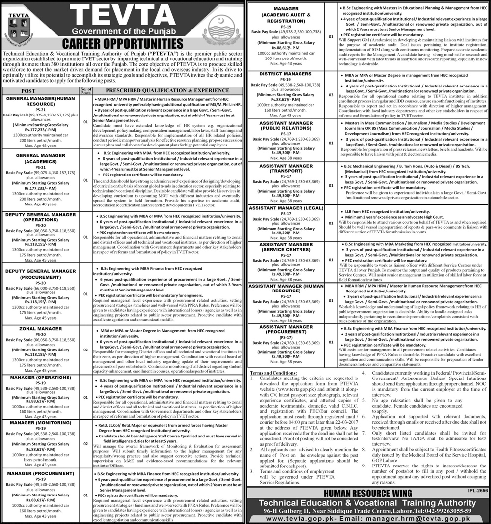 Punjab Technical Education & Vocational Training Authority Jobs