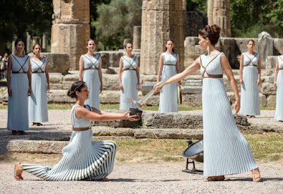 OLYMPIA- GREECE - 21th April 2016: The Olympic Torch Lighting Ceremony for the Rio 2016 Olympic Games. The ceremony which dates back to 1936 takes place in the ancient ruins of Olympia, home of the Olympic Games which historical records day back to the year 776BC .