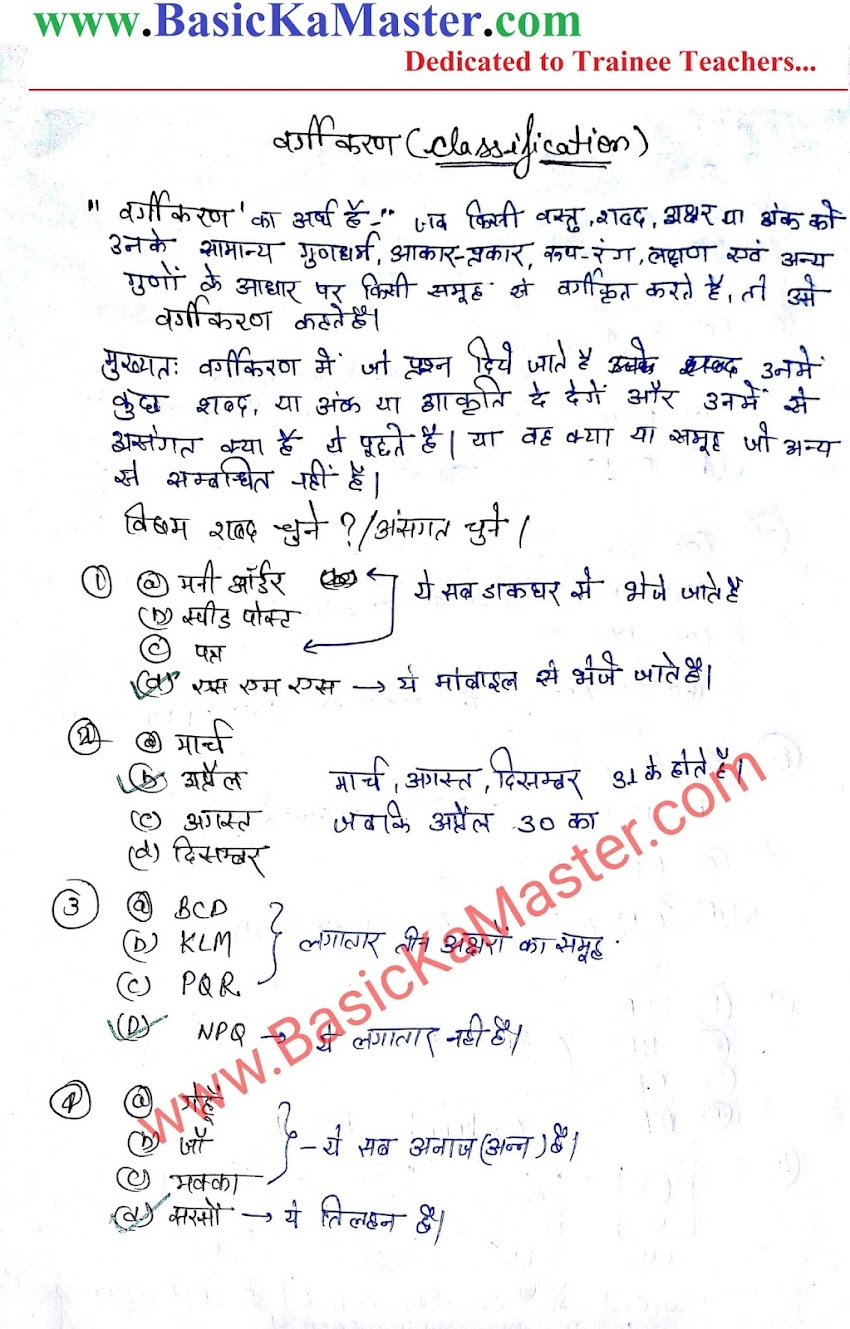तार्किक ज्ञान Notes - 2 (Classification)