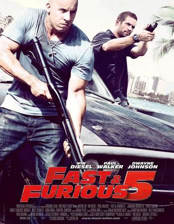 Poster Of Fast Five 2011 Dual Audio 600MB BRRip 720p HEVC Free Download Watch Online downloadhub.in