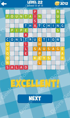 Cheats, Solutions for Level 22 in 13 Word Connect by Second Gear Games