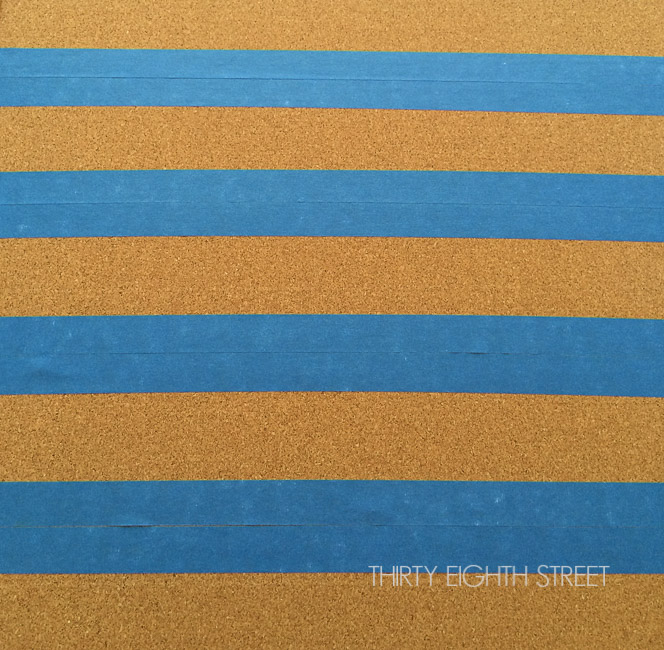 painting stripes, painting a bulletin board, striped bulletin board, how to use painters tape