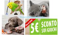 Logo Promo Festa de Papà: ricevi uno sconto certo di 5€ su tutti i giochi cani, gatti, roditori e uccelli