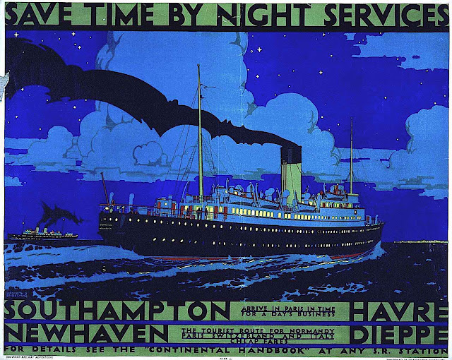 a Kenneth Shoesmith poster for a passenger ship, save time by night services