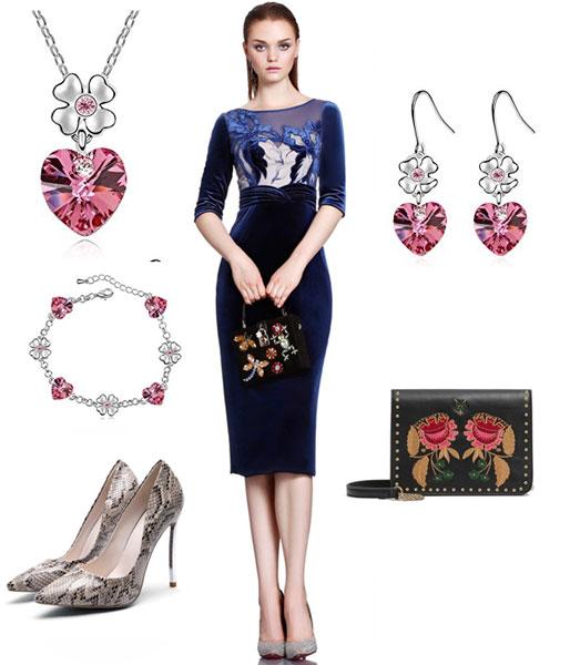 robe midi bleu marine fourreau et accessoires pour mariage